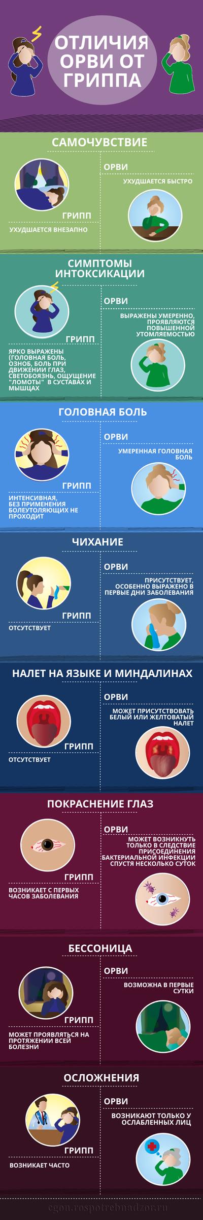 Отличия гриппа от орви картинки